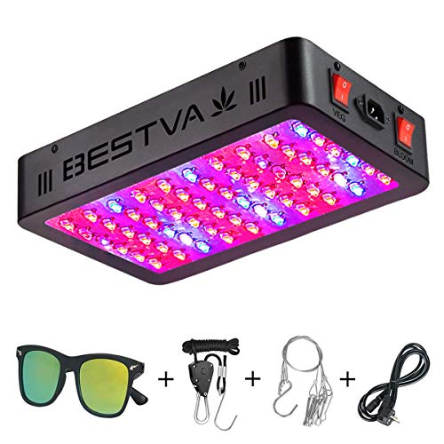 BESTVA DC Series 600W LED Grow Light Full Spectrum Dual-Chip Growing Lamp for Hydroponic Indoor Plants Veg and Flower